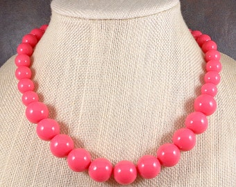 Statement Necklace, Pink, Beaded Necklace, Chunky Necklace, Round Bead Necklace, Pink Bead Necklace, Big Bead Necklace, Big Necklace