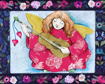 Angel Playing Lute mixed media collage print