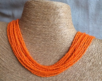Orange beaded necklace, orange seedbead multi-strand necklace, orange bridesmaids, orange necklace, bridesmaids necklace, orange multistrand