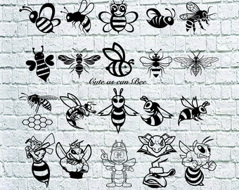 23 Bee Svg Bundle, Bee dxf, Hornet Svg, Cute Bee svg, Bee Svg, Dxf, Png, Eps, Vinyl, Cut File, Iron On, Cuttable, Cricut File.
