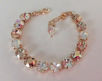 8mm Swarovski Crystal bracelet, rose gold, crystal mix, champagne, light silk, wedding jewelry, bridesmaids jewelry,