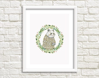 Panda Illustration, Art Print