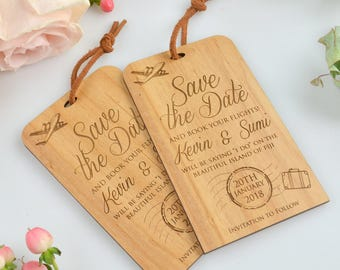75x Engraved 11B Wooden Save the Date Luggage Tags with Leather cord with Kraft envelopes
