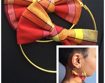 Earring, Creole, red madras fabric, accessories women