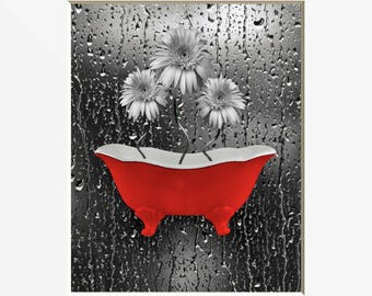 Bathroom Red Gray Daisy Fowers In Bathtub Home Decor Red Wall Pictures
