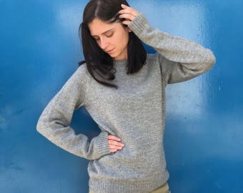 Raglan Sweater Hand Knit in Grey / Made to Order