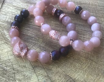 Faceted Sun-stone, TWO piece Set, Garnet Root Chakra, Solar Plexus, Rose Gold, Pave Spacer, Stacking, Metaphysical, Yoga Inspired, Gift, Zen