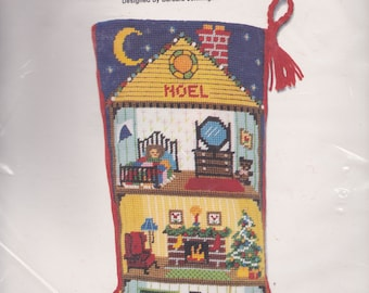 Vintage Sunset Christmas Dollhouse Holiday Noel House Needlepoint Stocking Kit 6010 E