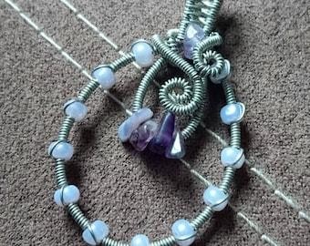 Amethyst wire wrap pendant