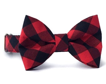 Red Buffalo Plaid Dog Bow Tie Collar - Red and Black Gingham Bow Tie and Collar - Checkered Dog Collar