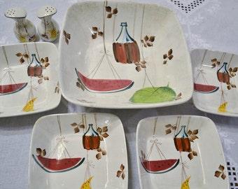 Vintage Jamaican Royal Sealy Salad Bowl Set Salt Pepper Shaker Hand Painted Japan PanchosPorch