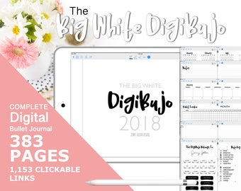 2018 Year Complete Digital Bullet Journal for GoodNotes with Hyperlinks The Big White DigiBujo Digital Planner