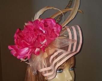 gorgeous kentucky derby hat fascinator with peach striped ruffle and sinamay pink fuchsia peony flower and pheasant and beige  feather