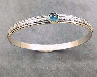 London Blue Topaz Gemstone Bangle, Oxidized Sterling Silver, Rose Cut Topaz, Floral Wire
