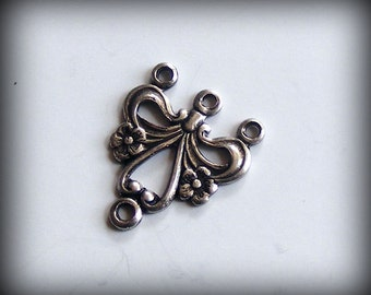 Sterling Silver Plated Connectors Ornate Oxidized Three Strand Stampings 17x15mm (Qty 2) B621-VJS S-5609