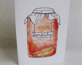 Mother's Day Card - Kombucha / Probiotics - Handmade and printed from original ink and gouache illustration