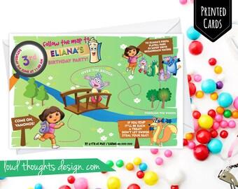 Dora Birthday Invitations/ Dora The Explorer Birthday Invite/ Printed Photo Birthday Invitation/ Personalised Party/ Digital Invite