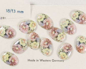 18 X 13 mm Oval Floral Cabochon, 2 for 2.00 - VB 109