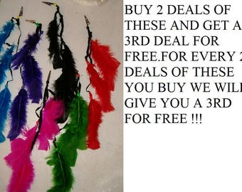 Buy 2 Deals Of These And Get A 3rd Deal Free. 48 Assorted Color Feather Clips, Hair Clips , Craft Feathers