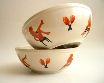 Naughty Dancers - Hand painted Bowl Set of Two, sexy hot, whimsy -Spring Sale