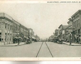 Vintage Postcard, Hurley, Wisconsin, Silver Street Looking East, ca 1920