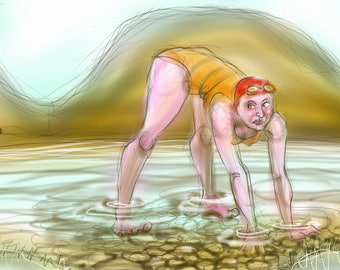Art print - 'Trouble with Tarns' - open water swimming, wild swimming, A4 or A3 size.