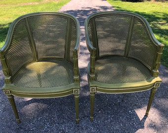 A pair of French rattan chairs