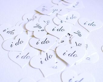 Wedding Confetti - I Do Confetti - White Paper Hearts Confetti - Wedding Decor - Kraft Paper I Do Curvy Hearts - Table Scatter Confetti