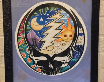 Hand Drawn and Painted Grateful Dead Wall Hanging, Night and Day Skeleton