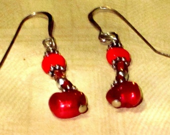 Little Red Pearl, Glass and Gold Drop Earrings.  Valentine's Day Gift