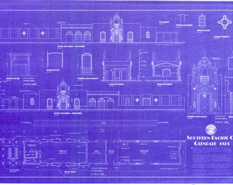Real blueprints of historic southern pacific by depotblueprints southern pacific railroad depot malvernweather Choice Image