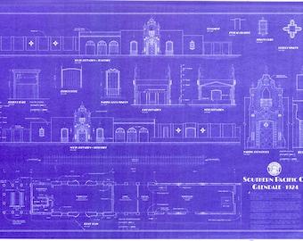 Railroad blueprint etsy southern pacific railroad depot glendale california handmade blueprint 24 x 36 malvernweather Gallery