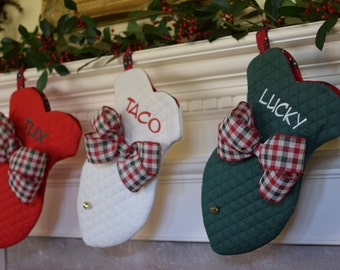 Christmas Stocking for Pets || Personalized Dog Bone Fish with Jingle Bell || Traditional Holiday Stocking || Gift Three Spoiled Dogs