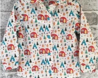 Boy's 100% cotton camping print long sleeved shirt - Age 3
