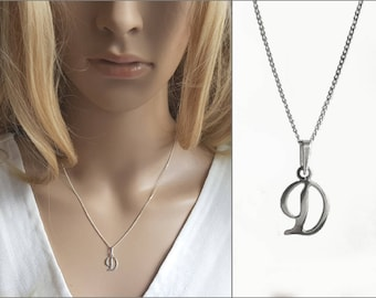 Tiny Pendant Letter D, Sterling Silver D Necklace, D Initial Charm Short Chain, Modern Wish Letter Necklace, Personalized Jewelry