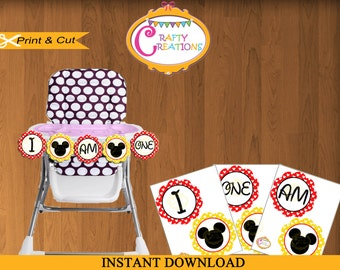 Mickey Mouse Party Printable Highchair Banner - I AM ONE - First Birthday Banner- Mickey Mouse Banner- Instant Download- CraftyCreationsuae