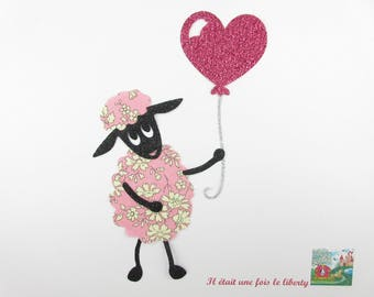 """Applied fusing sheep """"I offer you my heart"""" Capel liberty fabric and pink glitter liberty fusible applique sheep"""