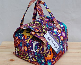 Bento Box Reusable, Insulated Lunch Bag, waterproof lining, BPA Free, Food Friendly, Forest, purple, washable, school lunch, work lunch bag