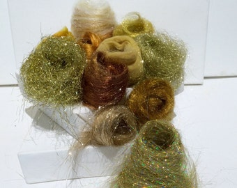 Gold Fiber Art kit Sampler, gold wool, roving, Angelina firestar, Nuno Felting Spinning, blending board fiber Gold palette christmas glitter