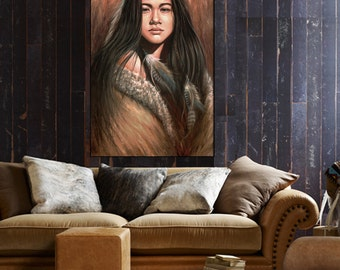 Native American art, Indian girl, Native American painting, wall decor, canvas print