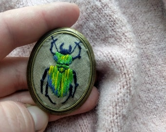 Embroidered Green Beetle Brooch