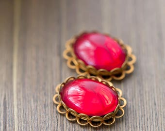 Vintage Jewel Pendant Ruby Red Foil Glass Oval Cabochon Jewel Connector Bead Pendant Drop Charm 23mm