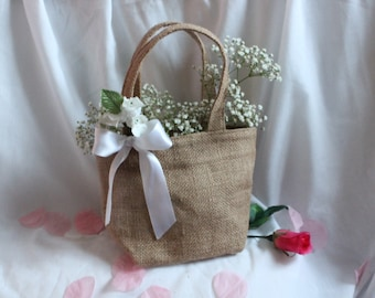 Custom Flower girl bag / basket, burlap / hessian with trim and flower trim. Quality item for barn wedding, rustic or country theme