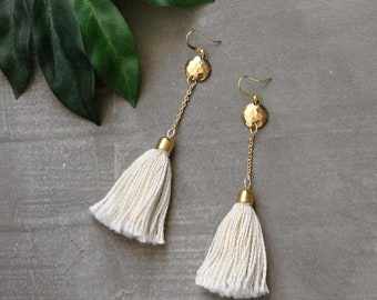 boho tassel earrings   NICO   long earrings, dangle earrings, brass and ivory, statement earrings, shoulder duster, fringe earrings, boho