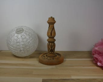 Raw carved lamp base, vintage style candle lamp