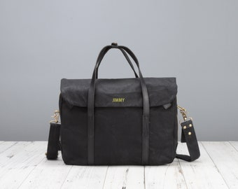 Personalised waxed canvas laptop shoulder bag in black