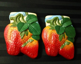 Vintage pair of Ceramic Strawberry Wall Pockets