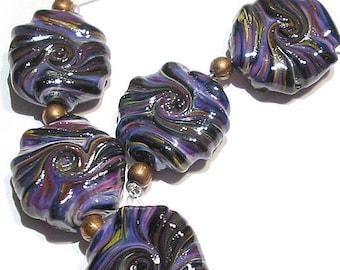 Handmade  Lampwork Glass Beads, Rakuli Glitter Twist  Whirled Tabular Beads