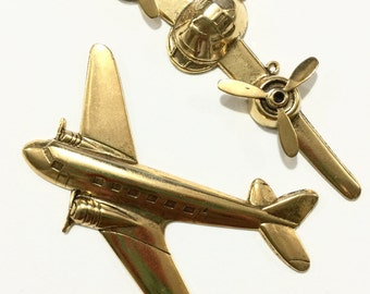 Antique Gold Airplane Metal Findings (set of 2)
