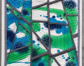 Cloud landscape , Quilted Art, quilted wall hanging, home decor, fabric wall art, modern art quilt